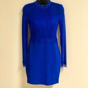 Stunning Blue Sheer Top and Sleeves Party Dress